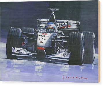 1998 Mika Hakkinen World Champion Formula One  Mclaren Mp4-13 Wood Print by Yuriy Shevchuk