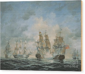 19th Century Naval Engagement In Home Waters Wood Print by Richard Willis