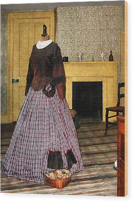 19th Century Plaid Dress Wood Print by Susan Savad