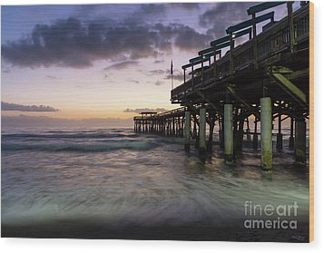 1st Dawn Cocoa Pier Wood Print