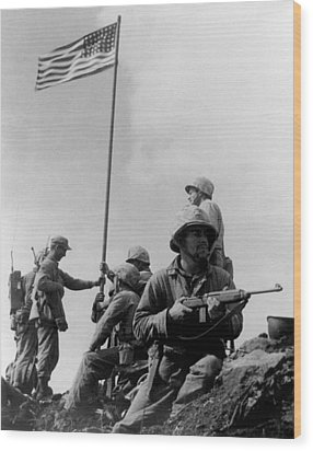 1st Flag Raising On Iwo Jima  Wood Print by War Is Hell Store