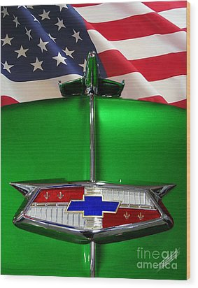 1954 Chevrolet Hood Emblem Wood Print by Peter Piatt