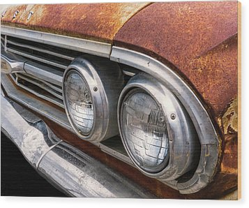 Wood Print featuring the photograph 50s Chevrolet Front End by Jim Hughes