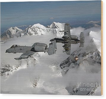 A-10 Thunderbolt IIs Fly Wood Print by Stocktrek Images