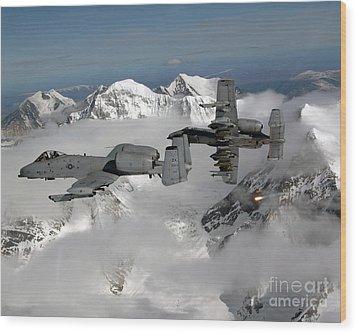 A-10 Thunderbolt IIs Fly Wood Print