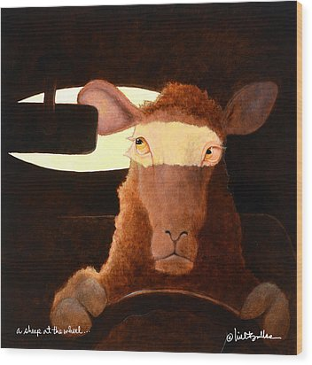 Wood Print featuring the painting A Sheep At The Wheel... by Will Bullas