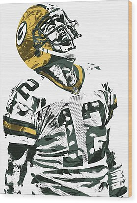 Aaron Rodgers Green Bay Packers Pixel Art 4 Wood Print by Joe Hamilton