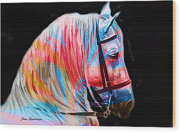 Wood Print featuring the painting Abstract White Horse 19 by J- J- Espinoza