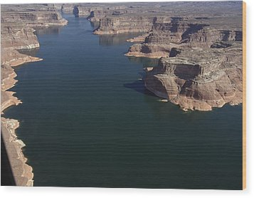 Aerial View Of Lake Powell Wood Print by Carl Purcell
