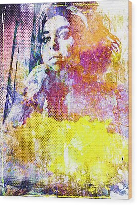Amy Winehouse Wood Print by Svelby Art