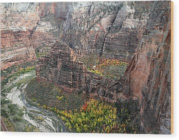 Angels Landing In Zion Wood Print by Pierre Leclerc Photography