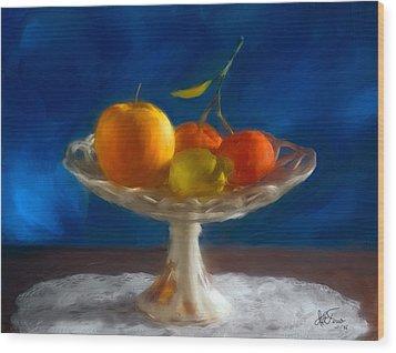 Wood Print featuring the photograph Apple, Lemon And Mandarins. Valencia. Spain by Juan Carlos Ferro Duque
