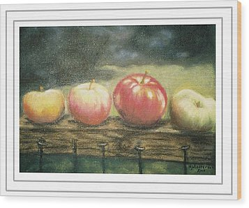 Apples On A Rail Wood Print