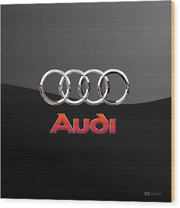 Audi - 3 D Badge On Black Wood Print