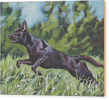 Wood Print featuring the painting Australian Kelpie by Lee Ann Shepard
