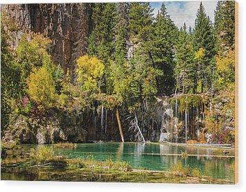 Autumn At Hanging Lake Waterfall - Glenwood Canyon Colorado Wood Print