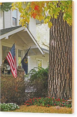 Autumn In Small Town America Wood Print by Christine Belt