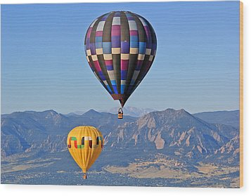 2 Balloons Flying Over The Flatirons Wood Print by Scott Mahon