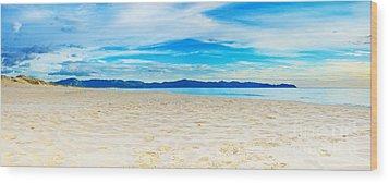 Beach Panorama Wood Print by MotHaiBaPhoto Prints