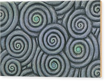 Bleus En Spirale Wood Print by Jacques Vesery
