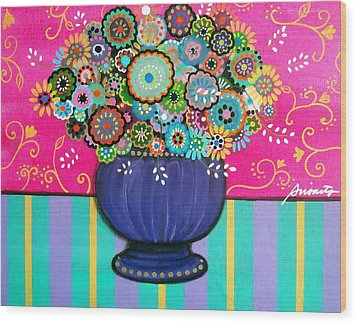 Wood Print featuring the painting Blooms by Pristine Cartera Turkus