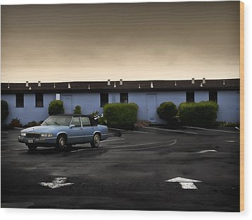 Blue Motel Wood Print by John Hansen