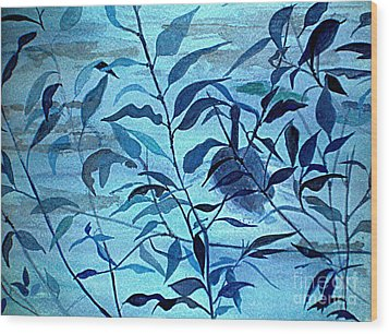 Blue On Blue Wood Print by Vivian  Mosley