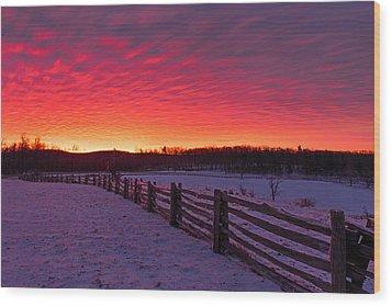 Wood Print featuring the photograph Blue Ridge Parkway Sunrise by Bernard Chen