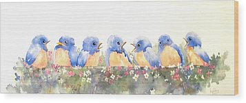 Bluebird Friends Wood Print