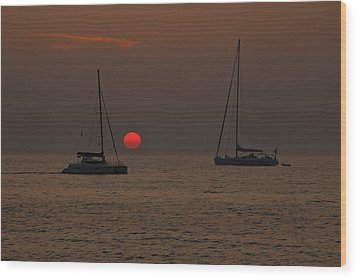 Boats In The Sunset Wood Print by Joana Kruse