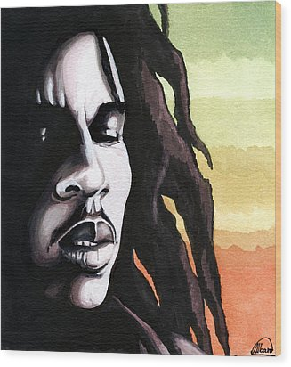 Bob Marley Portrait Wood Print by Alban Dizdari