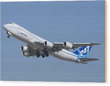 Boeing 747-8 N50217 At Phoenix-mesa Gateway Airport Wood Print by Brian Lockett
