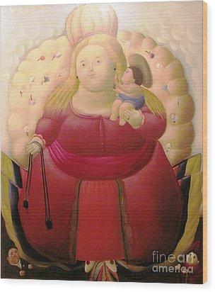 Botero Woman And Child Wood Print