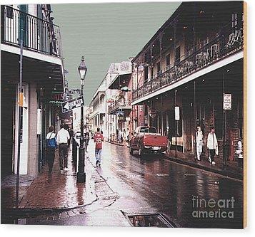 Wood Print featuring the photograph Bourbon Street After The Rain by Merton Allen