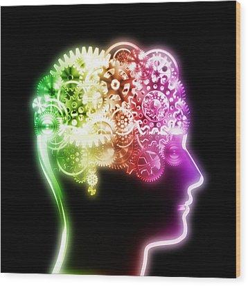 Brain Design By Cogs And Gears Wood Print by Setsiri Silapasuwanchai
