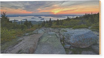 Wood Print featuring the photograph Cadillac Mountain Sunrise by Stephen  Vecchiotti
