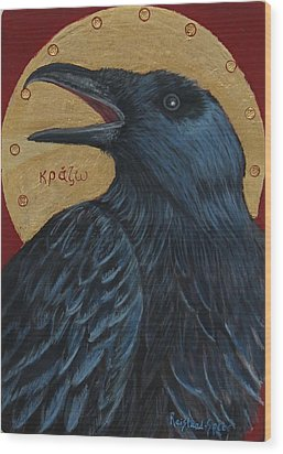Caw Wood Print by Amy Reisland-Speer