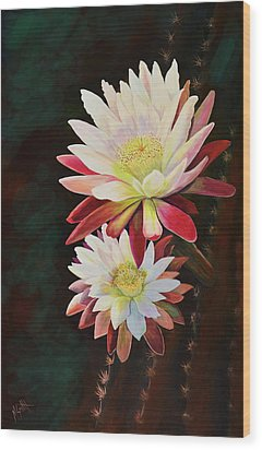 Wood Print featuring the painting Cereus Business by Marilyn Smith