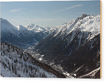 Chamonix Resort In The French Alps Wood Print by Pierre Leclerc Photography