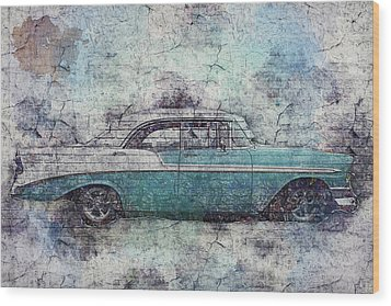 Wood Print featuring the photograph Chevy Bel Air by Joel Witmeyer