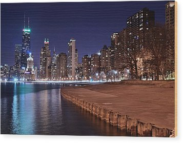Chicago From The North Wood Print