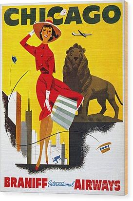 Chicago Vintage Travel Poster Restored Wood Print by Carsten Reisinger