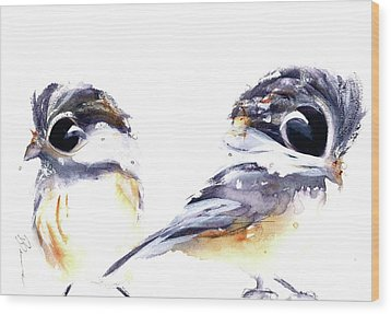 Wood Print featuring the painting 2 Chickadees by Dawn Derman