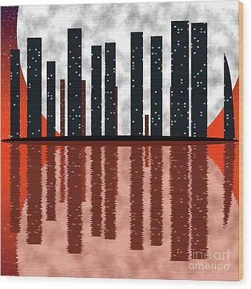 City Skyline At Full Moon Wood Print by Michal Boubin