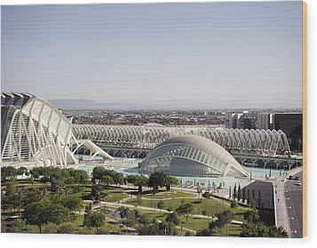 Ciudad De Las Artes Y Ciencias Valencia Wood Print by For Ninety One Days