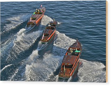 Classic Chris Craft Runabouts Wood Print by Steven Lapkin
