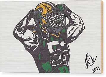 Wood Print featuring the drawing Clay Matthews 2 by Jeremiah Colley