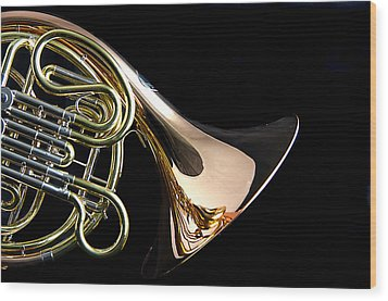 Color French Horn Wood Print by M K  Miller