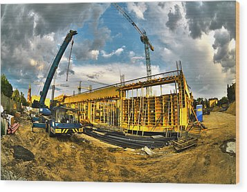Construction Site Wood Print by Jaroslaw Grudzinski