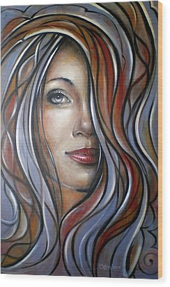 Wood Print featuring the painting Cool Blue Smile 070709 by Selena Boron
